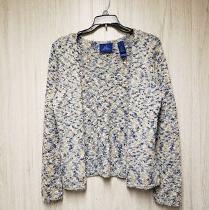 JH Collectibles Blue Beige Textured Cardigan Small
